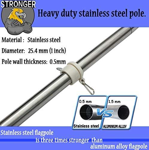 Suitable for 3/×5 American US Flag Weather Resistant Stainless Steel Flag Pole for House Garden Yard 4FT, Black SANDEGOO 4FT Flag Pole