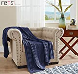 FBTS Basic Knitted Throw Blanket 51 x 67 Inch Blue Pure Cotton Cable Extra Soft for Couch Sofa Bed