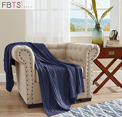 Blue Throw Blanket - FBTS Basic Knitted Throw Blanket 51 x 67 Inch Blue Pure Cotton Cable Extra Soft for Couch Sofa Bed by