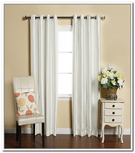 LuxuryDiscounts 2 Piece Solid White Faux Silk Grommet Window Curtain Treatment Panel Drapes 54