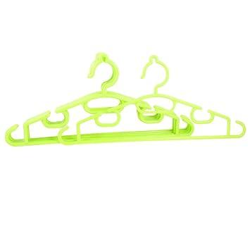 La luz verde de plástico Armario de ropa Abrigos Pantalones percha de ropa 5 PC