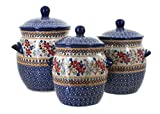 Manufaktura Polish Pottery Red Daisy 3 Piece Canister Set