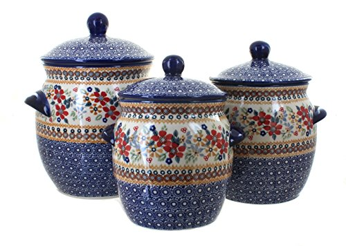 Manufaktura Blue Rose Polish Pottery Red Daisy 3 Piece Canister Set