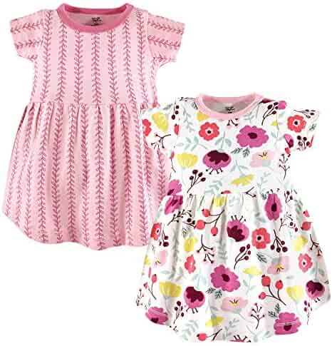 Touched by Nature Baby Organic Cotton Dress, 2 Pack, Botanical, 3T