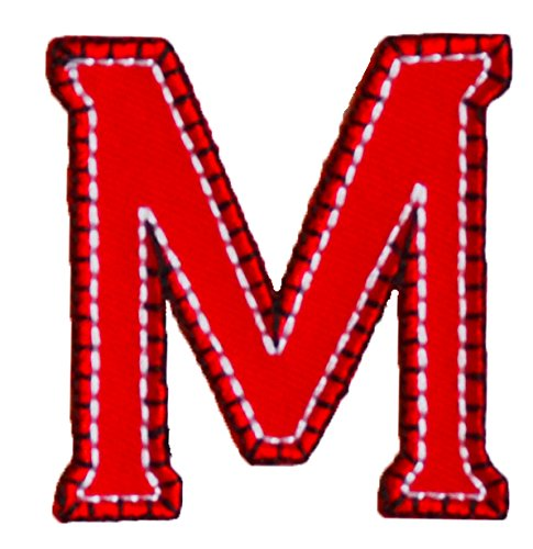 TrickyBoo Iron-On Letter Patch Craft Applique M Red Blue 9Cm Personalize Names Crafts Jeans Clothing Fabric To Iron On Plate Backpack Trousers Cushion Scarf Bunting Bag Hat Door Hat Skirt Dresses Cap