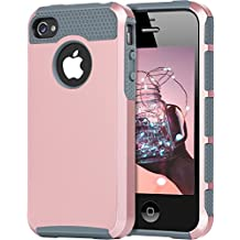 iPhone 4 Case, iPhone 4S Case, 4S Case, BENTOBEN Shockproof Dual Layer Slim Scratch Resistant Rugged Hybrid Hard Case Bumper Protective Case for Apple iPhone 4/4S, Rose Gold/Gray