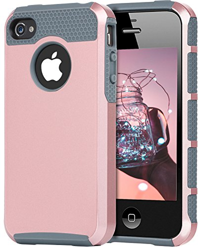 iPhone 4 Case, iPhone 4S Case, 4S Case, BENTOBEN Shockproof Dual Layer Slim Scratch Resistant Rugged Hybrid Hard Case Bumper Protective Case for Apple iPhone 4/4S, Rose Gold/Gray ()