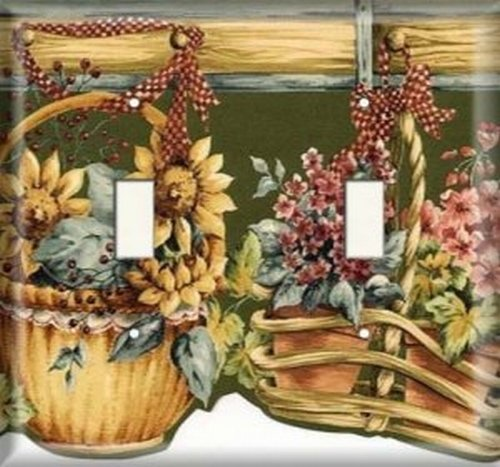 Double Light Switchplate Cover - Hanging Flower Baskets