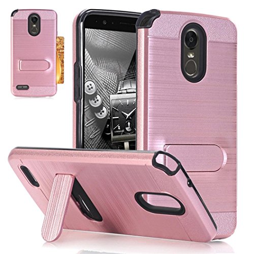 Voberry Hybrid Hard Soft Rubber Impact Armor Card Kickstand Case Cover For LG Stylo 3 Plus (Rose Gold)