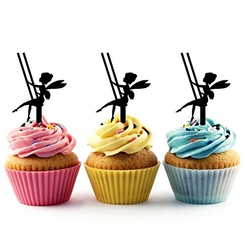 TA0100 Fairy Tinkerbell and a Swinging Chair Silhouette Party Wedding Birthday Acrylic Cupcake Toppers Decor 10 pcs