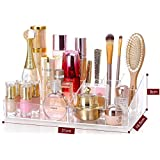 """Cq acrylic 9 Grid Makeup Organizer and as a Lipstick and Makeup Brushes Holder,Clear,13.8""""x8.3""""x3.6"""",Pack of 1"""