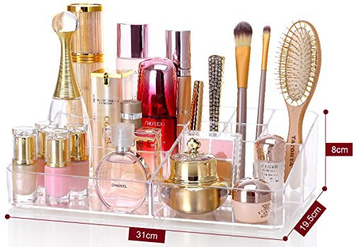 "Cq acrylic 9 Grid Makeup Organizer and as a Lipstick and Makeup Brushes Holder,Clear,13.8""x8.3""x3.6"",Pack of 1"