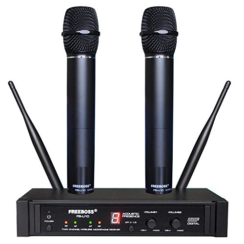 Wireless Microphone 900mhz (Freeboss FB-U10 Dual Way Black Metal Handheld School Church Karaoke Party Digital UHF Wireless Microphone)