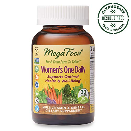 - MegaFood, Women's One Daily, Daily Multivitamin and Mineral Dietary Supplement with Vitamins C, D, Folate and Iron, Non-GMO, Vegetarian, 30 Tablets (30 Servings) (FFP)