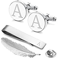 GGemony Cufflinks for Men Classic Engraved Initial Cufflinks Alphabet Letter Cufflinks Formal Wedding Business A-Z