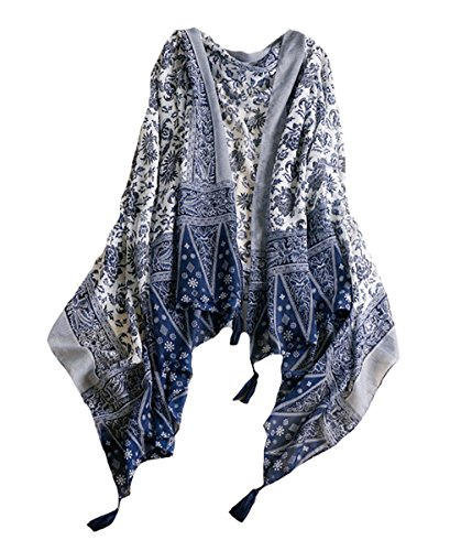 - MeiLing Women's Lightweight Scarves Print Wraps Sarongs Cover Up Cotton Tassel Fringe Scarf Shawl
