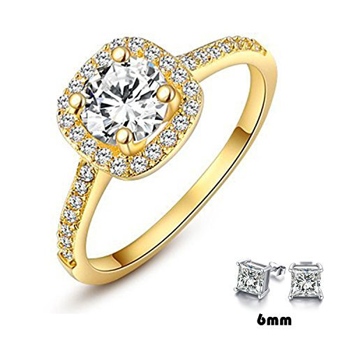 Winter.Z Womens Jewelry Circular Bead Square Ring Diamond 18K Gold Ring (18 Ct Gold Wedding Rings)