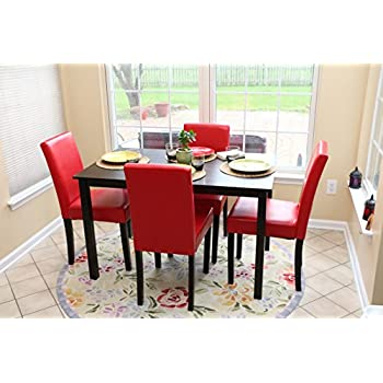 Delightful 5 PC Red Leather 4 Person Table And Chairs Red Dining Dinette   Red Parson  Chair Awesome Design