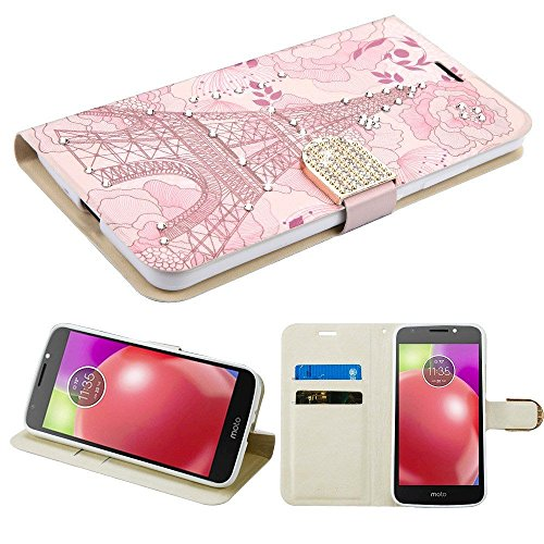 e, Mybat Eiffel Tower Stand Folio Flip Leather [Card Slot] Wallet Flap Pouch Case Cover with Diamond for Motorola Moto E4, Pink ()