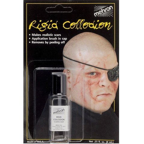 Mehron Rigid Collodion Scars Liquid Skin Wrinkle Effects .125 oz with (Rigid Collodion Scarring Liquid)