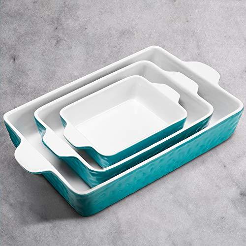 IPOW 3-Piece Ceramic Baking Dish, Value Three Pack