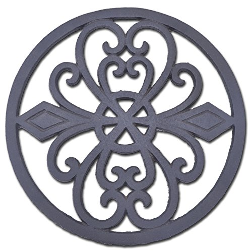 Decorative Round Cast Iron Trivet Ornate Heart Design Hot Pad 8'' Wide by Import Wholesales