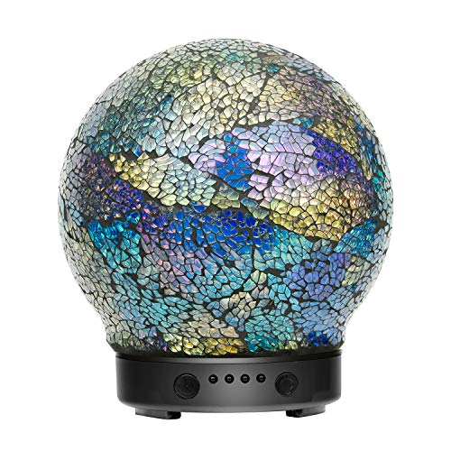 Mosaic Glass Ball Essential Oil Diffuser 100ml Ultrasonic Humidifier, Turkish Moroccan Lamp Tiffany Style 8 Colors Changing LED Lighting Modes For Office Home Yoga