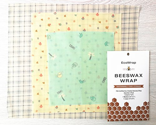 Beeswax Wrap for Food | Sustainable Food Storage | FDA Certified Eco-Friendly, Plastic Free, Reusable Food Wrap | Perfect for wrapping Sandwiches, Fruits or Cheese | EcoWrap