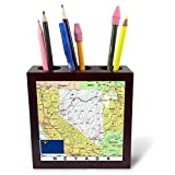 3dRose Lens Art by Florene - Topo Maps, Flags of States - Image of Nevada Topographic Map with State Flag - 5 inch Tile Pen Holder (ph_291416_1)