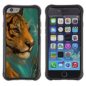 "Pulsar iFace Series Tpu silicona Carcasa Funda Case para Apple iPhone 6+ Plus(5.5 inches) , Cara del tigre Dibujo Paintin la acuarela del gato"""
