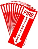 """Set of 10 Self Adhesive Fire Extinguisher Signs, 4.25"""" x 11"""" - High Quality Decals."""