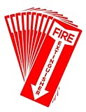 Set of 10 Self Adhesive Fire Extinguisher Signs, 4.25'' x 11'' - High Quality Decals.