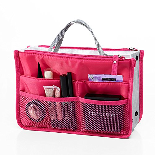 Double Zipper Cosmetic Bags, WITERY Portable Travel Storage Organiser Mesh Toiletries Make up Bag Cosmetic Bag Make-up Beauty Wash Bags in Bag for Traveling and Home Use Rose Red