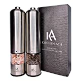 Electric Salt and Pepper Grinder Set by Kitchen Ash - Battery Operated Ceramic Grinder in Stainless Steel Shaker - Adjustable Grain Fine-Coarse - Dispenser Light and Cap - Electric 1 Hand Operation