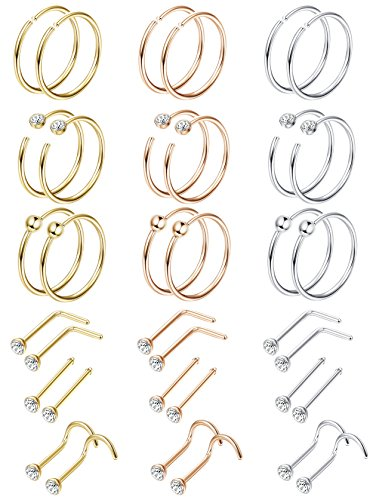 - LOYALLOOK 36PCS Stainless Steel 20G Hoop Nose Rings Fake Septum Ring Studs Body Piercing Jewelry