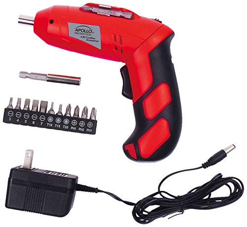 Apollo Precision Tools DT1036, Cordless Rechargeable Screwdriver, 4.8V, Red ()