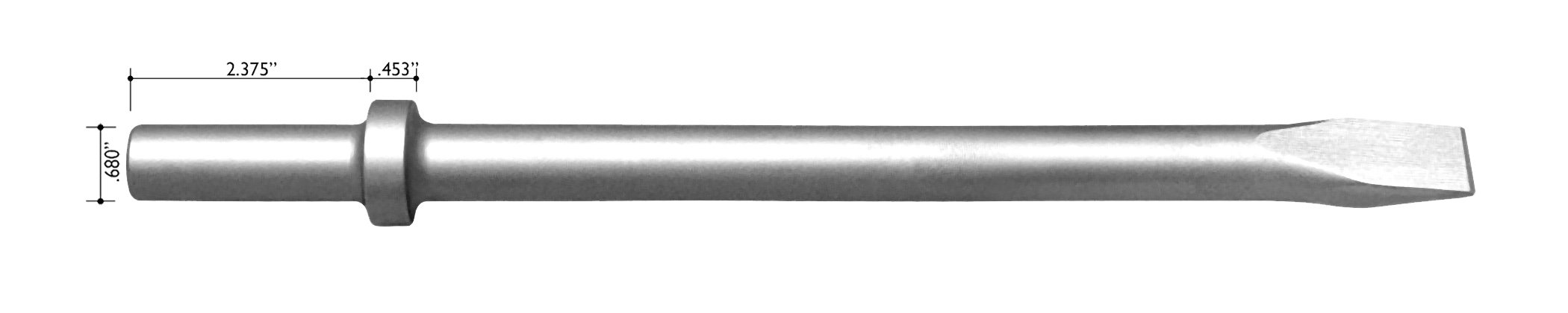 Champion Chisel, 18-Inch Long .680 Round Shank Round Collar Chipping Hammer Narrow, Flat Chisel