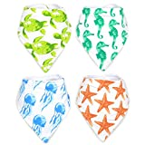 ocean clothing - Stadela Baby Adjustable Bandana Drool Bibs with Snaps for Drooling Teething Burp Cloths 4 Pack Baby Shower Gift Set Unisex Boy and Girl - Coral Reef Ocean Sea Beach Summer Tropical Turtle Seahorse
