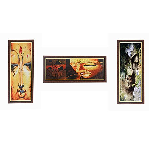 Wens Beautiful Face of Buddha MDF Wall Art (43 cm x 18 cm x 1 cm, Set of 3)
