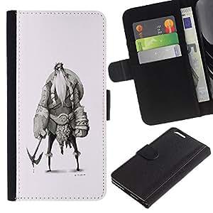 Be-Star la tarjeta de Crédito Slots PU Funda de cuero Monedero caso cubierta de piel Para Apple (5.5 inches!!!) iPhone 6+ Plus / 6S+ Plus ( Viking Sketch Character Shield Warrior )