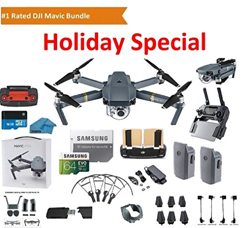 DJI Mavic Pro Drone Quadcopter 4K Professional Camera Gimbal Bundle Kit with 2 Batteries, 64GB SD Card + 3.0 Card Reader, Landing Gear, Prop Guards and Must Have Accessories