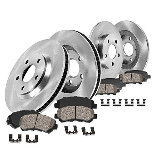FRONT 277 mm + REAR 266 mm Premium OE 5 Lug [4] Rotors + [8] Quiet Low Dust Ceramic Brake Pads + Clips