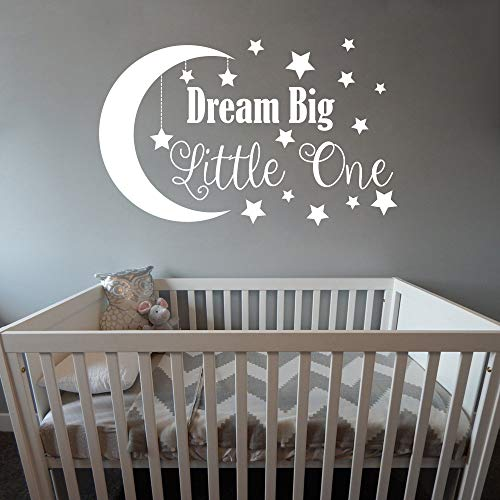 Dream Big Little One Wall Decal, Nursery Wall Decal, Nursery Decor, Nursery Wall Quote, Quote Decal, Removable Vinyl Wall Stickers For Baby Kids Boy Girl Bedroom Nursery Decor A34 (Small, White)
