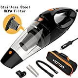 HOTOR [4th Gen] Car Vacuum, DC 12V Car Vacuum Cleaner High Power with Stronger Suction, Potable Handheld Auto Vacuum Cleaner for Car with LED Light, Carrying Bag, HEPA Filter - Black & Orange