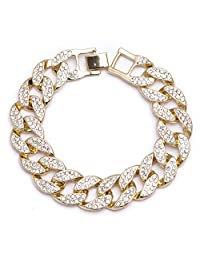 """Men's 2 Row Iced Out Gold Plated 16mm 8"""" Chunky Cuban Link Hip Hop Bling Chain Bracelet"""