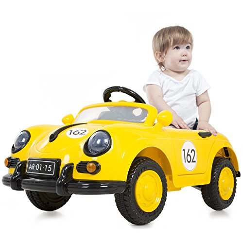 Classic Remote Control Yellow Sports Ride On Toy Car With Sound