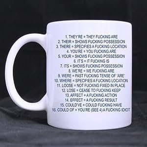 Funny Humor taza de la gramática, mala gramática texto blanco tazas de café de cerámica–ml tamaños