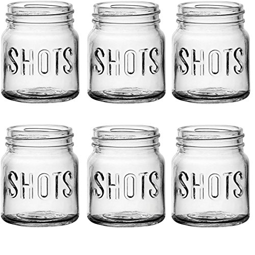 - Circleware Mini Mason Jar Heavy Base Shot Glasses, Set of 6, Fun Party Home Entertainment Dining Beverage Drinking Glassware Tumbler Whiskey Coffee Espresso Liquor Bar Jello Cups, Block, 4.9 oz