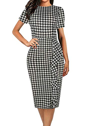 oxiuly Women's Casual Houndstooth Short Sleeve Round Neck Work Business Pencil Sheath Bodycon Stretchy Summer Dress OX055 (S, Houndstooth) ()