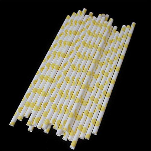 Lemon Straws - Vibola® 25 pcs drinking straws Fruit Pineapple, strawberry, watermelon, lemon print Paper Straw Decoration Wedding Party Supplies Creative Straw (D-lemon)